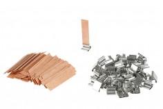Φυτίλια ξύλινα 13x60 mm με μεταλλική βάση για κεριά - 100 τμχ