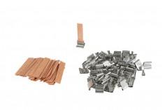 Φυτίλια ξύλινα 10x50 mm με μεταλλική βάση για κεριά - 100 τμχ