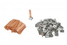 Φυτίλια ξύλινα 9x50 mm με μεταλλική βάση για κεριά - 100 τμχ