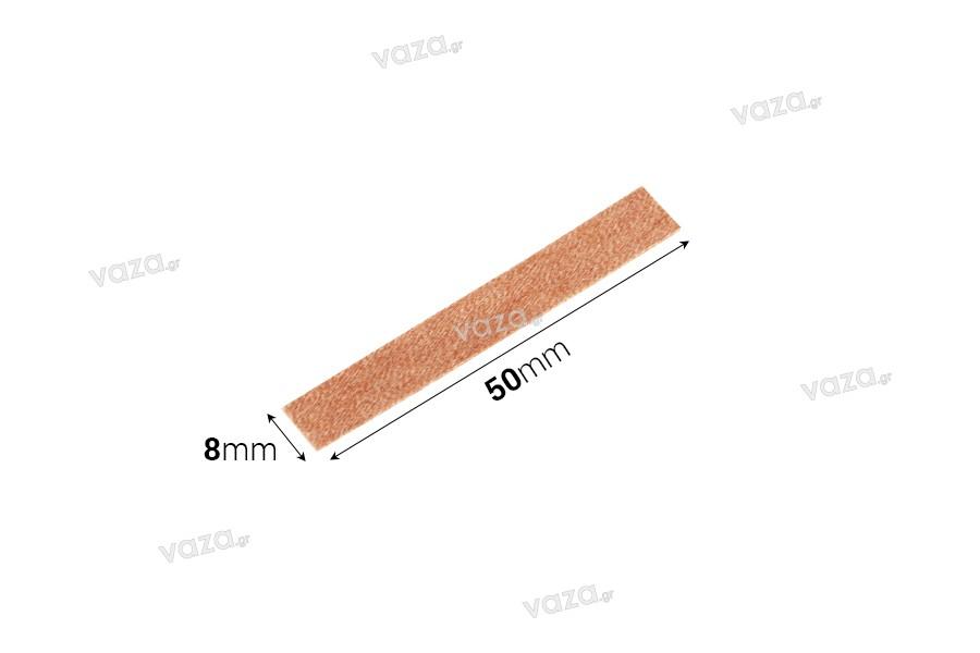 Φυτίλια ξύλινα 8x50 mm με μεταλλική βάση για κεριά - 100 τμχ