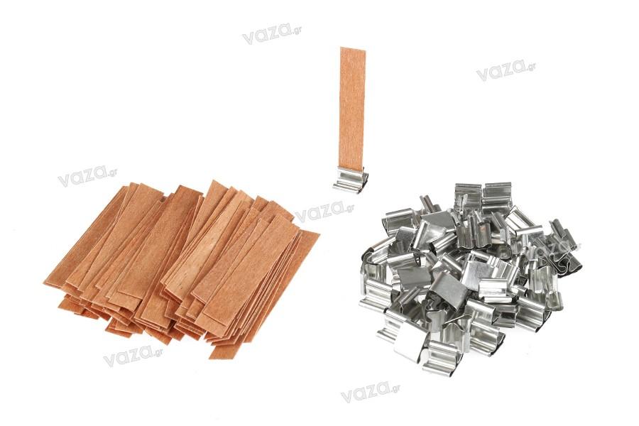 Φυτίλια ξύλινα 12,5x75 mm με μεταλλική βάση για κεριά - 100 τμχ