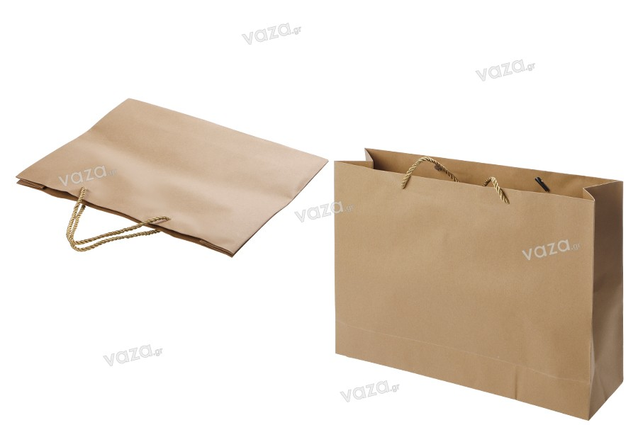 Τσάντα δώρου χάρτινη καφέ με στριφτό κορδόνι 250x90x200 mm - 12 τμχ