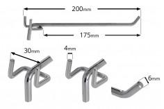 Γάντζος μονός για διάτρητο stand-λαμαρίνα 200 mm