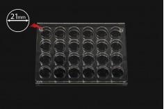 Σταντ (stand) plexiglass 165x120x28 με πόδια σιλικόνης - 24 θέσεων (άνοιγμα τρύπας 21 mm)