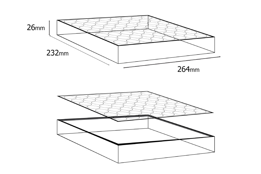 Σταντ (stand) plexiglass 264x232x26 - 56 θέσεων (άνοιγμα τρύπας 27,5 mm)