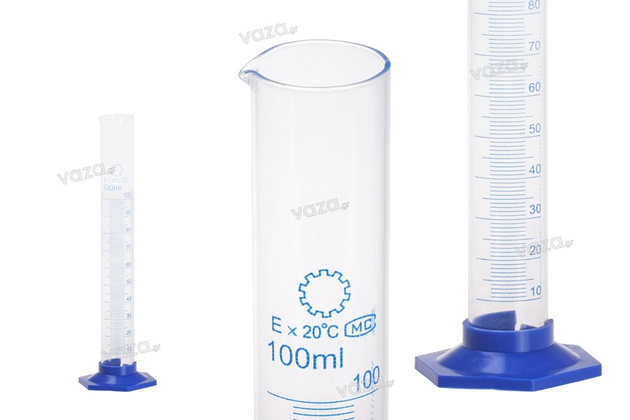 Ογκομετρικός σωλήνας 100 ml, γυάλινος με πλαστική, μπλέ βάση
