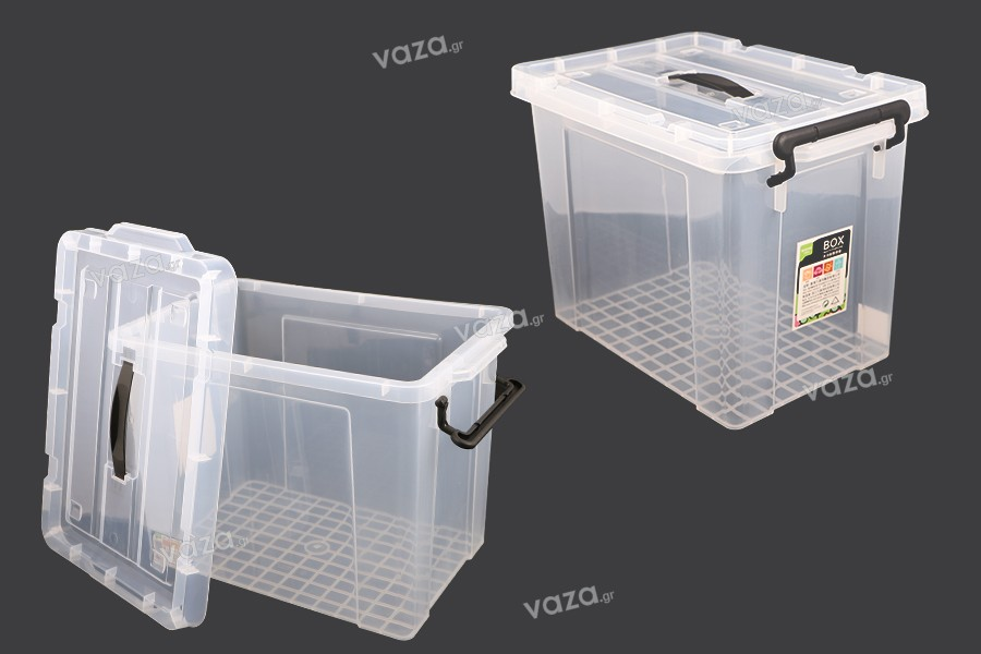 Κουτί αποθήκευσης 440x300x325 mm πλαστικό διάφανο με χερούλι και κλείσιμο ασφαλείας