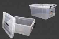 Κουτί αποθήκευσης 510x385x240 mm πλαστικό, διάφανο με χερούλι και κλείσιμο ασφαλείας