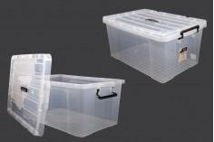 Κουτί αποθήκευσης 635x435x310 mm πλαστικό, διάφανο με χερούλι και κλείσιμο ασφαλείας
