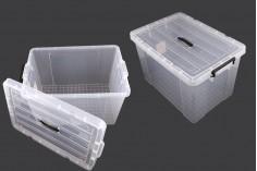 Κουτί αποθήκευσης 640x430x400 mm πλαστικό, διάφανο με χερούλι και κλείσιμο ασφαλείας