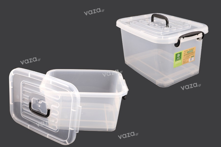Κουτί αποθήκευσης 410x280x220 mm πλαστικό, διάφανο με χερούλι και κλείσιμο ασφαλείας