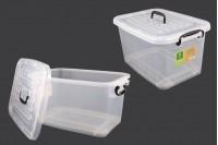 Κουτί αποθήκευσης 485x330x260 mm πλαστικό, διάφανο με χερούλι και κλείσιμο ασφαλείας
