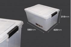 Κουτί αποθήκευσης 580x420x310 mm πλαστικό διάφανο με κλείσιμο ασφαλείας