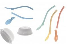 Ποτήρι 385 ml κεραμικό με καπάκι και καλαμάκι-κουταλάκι σε διάφορα χρώματα