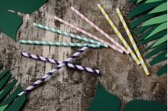 Οικολογικά καλαμάκια χάρτινα 197x8 mm σε διάφορα χρώματα - 50 τμχ