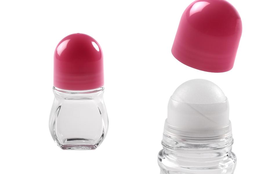 Roll-on μπουκαλάκι γυάλινο 50 ml με ροζ πλαστικό καπάκι
