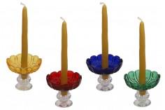 Πιατάκι γυάλινο με τρύπα στο κέντρο (26 mm) για κηροπήγια και πολυελαίους σε διάφορα χρώματα