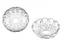 Assiette en verre avec trou au milieu (2,6cm) pour chandelières ou pour bougies