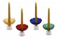 Πιατάκι γυάλινο με τρύπα στο κέντρο (26 mm) για κηροπήγια και πολυελαίους σε ποικιλία χρωμάτων