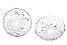 Πιατάκι γυάλινο με τρύπα στο κέντρο (26 mm) για κηροπήγια και πολυελαίους