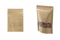 """Σακουλάκια κραφτ τύπου Doy Pack, με κλείσιμο """"zip"""" και παράθυρο, εσωτερική και εξωτερική διάφανη επένδυση και δυνατότητα σφράγισης με θερμοκόλληση 180x40x260 mm - 100 τμχ"""