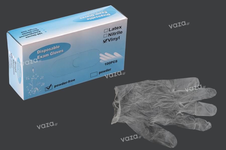 Γάντια βινυλίου μιας χρήσης χωρίς πούδρα (powder free) διάφανα σε μέγεθος Large - 100 τμχ