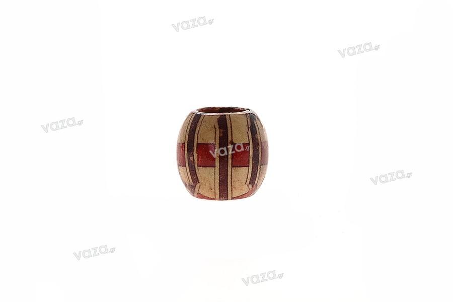 Χάντρα ξύλινη ζωγραφισμένη 14x15 mm