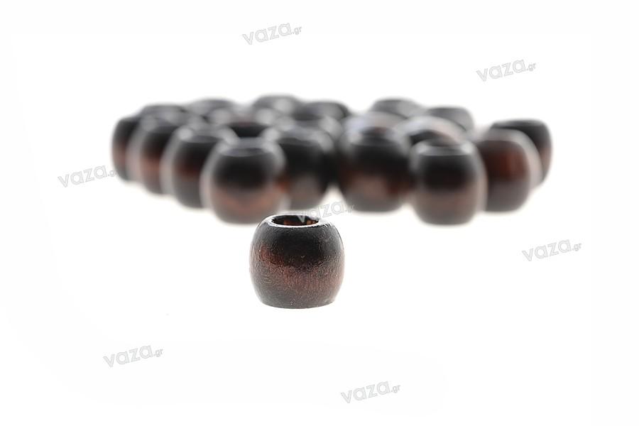 Χάντρες ξύλινες μικρές σκούρο καφέ 10x10 mm