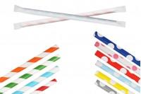 Pailles en papier écologique 195x62 mm en différentes couleurs - 100 pièces (emballage individuel)