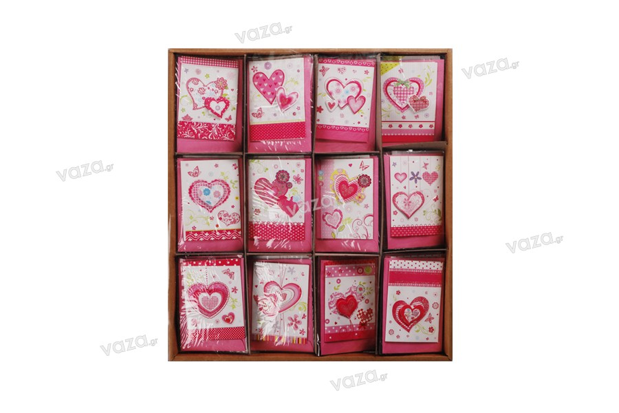 Ευχετήριες κάρτες με σχέδιο καρδιά - 120 τμχ (διαφορετικά σχέδια)