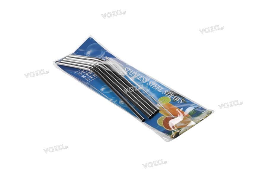 Pailles métalliques écologiques en acier inox de 215 mm avec brosse de nettoyage (5 + 1 pcs)