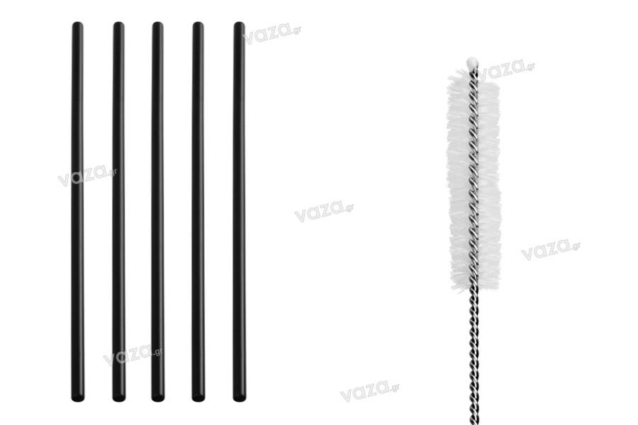 Καλαμάκια μεταλλικά 215 mm, οικολογικά ανοξείδωτα σε μαύρο χρώμα με βουρτσάκι καθαρισμού (5+1 τμχ)