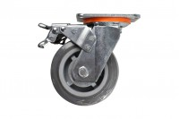 Roulette pivotante grise pour chariot avec frein