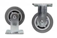 Roulette fixe grise pour chariot