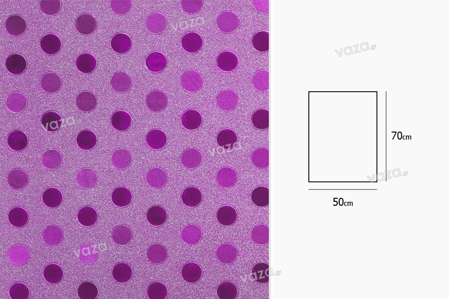 Σελοφάν περιτυλίγματος μεταλιζέ 50x70 cm με σχέδιο πουά - 20 τμχ