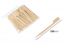 Ξυλάκια - καλαμάκια bamboo 100 mm με λαβή για catering και εδέσματα - 100 τμχ