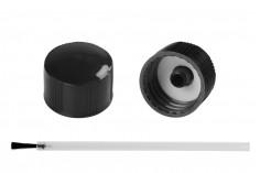 Πινελάκι - βουρτσάκι με μαύρο πλαστικό καπάκι για μπουκάλια με λαιμό PP18 - 20 τμχ
