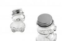 Βαζάκι 30 ml γυάλινο σε σχήμα αρκουδάκι με ασημί αλουμινένιο καπάκι