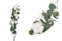 Διακοσμητικό κλαδί - άνθος βαμβακιού με πράσινα φύλλα