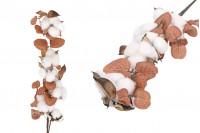 Διακοσμητικό κλαδί - άνθος βαμβακιού με καφέ φύλλα