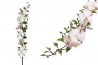 Διακοσμητικό κλαδί με άνθος βαμβακιού και πράσινα φύλλα