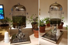 Γυάλα σερβιρίσματος μεταλλική ανοξείδωτη με πλαστικό βρυσάκι και εσωτερικό inox σωλήνα για πάγο - 8 λίτρα