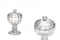 Bocal décoratif en verre avec couvercle et base 98x59