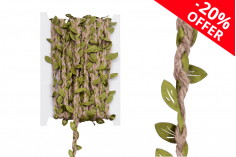 Διακοσμητική πλεξούδα με νήματα από σπάγκο και πράσινα φυλλαράκια, πλάτος 7 mm (10 μέτρα το τεμάχιο)