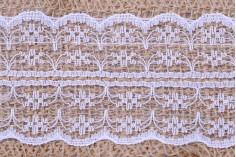 Τρέσα γιούτα με λευκή δαντέλα - πλάτος 65 mm, 5 μέτρα το τεμάχιο