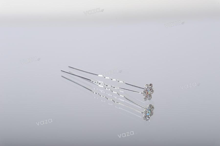 Καρφίτσα διακοσμητική μεταλλική με στρας σε σχήμα μαργαρίτας  (πλάτος 11 mm) – 20τμχ