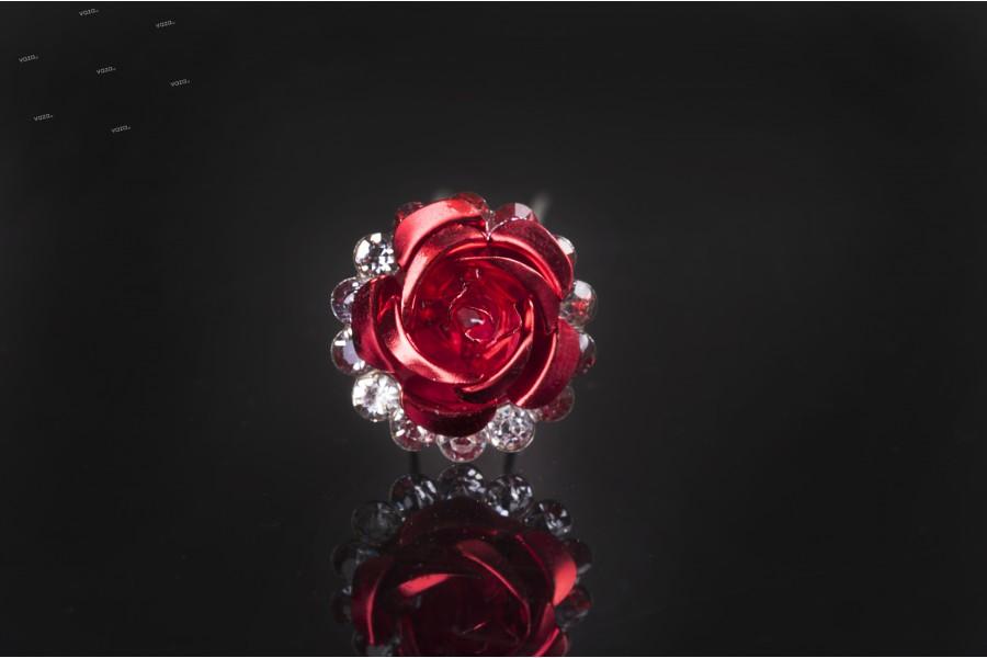 Καρφίτσα διακοσμητική μεταλλική με στρας σε σχήμα τριαντάφυλλο (πλάτος 18 mm) – 20 τμχ