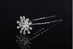 Καρφίτσα διακοσμητική μεταλλική με στρας σε σχήμα λουλουδιού (πλάτος 23 mm) – 20 τμχ