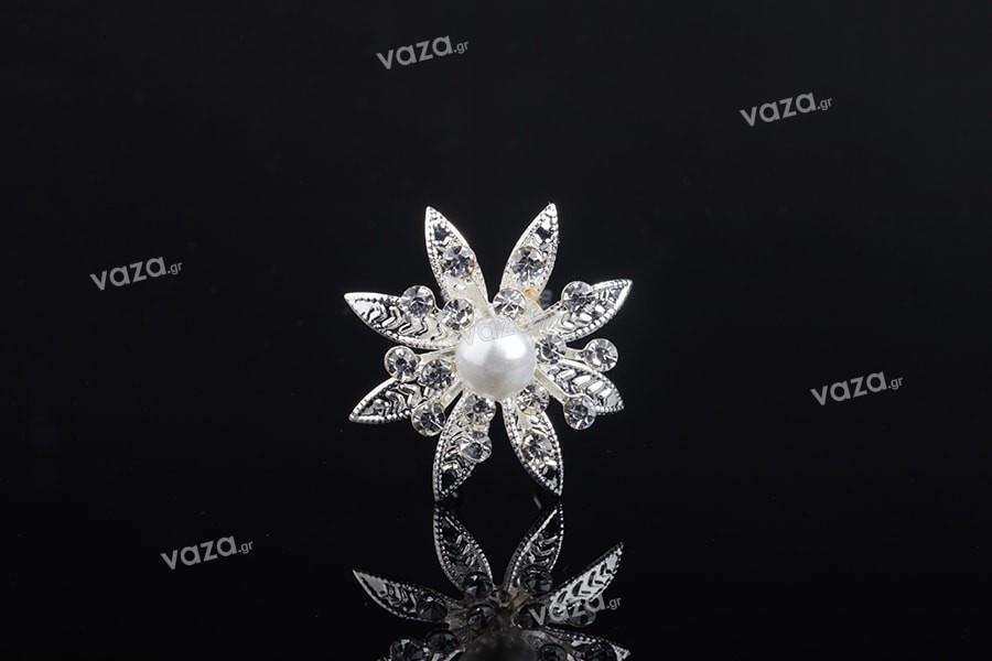 Καρφίτσα διακοσμητική μεταλλική με στρας και πέρλα σε σχήμα λουλουδιού (πλάτος 30 mm) – 20 τμχ