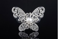 Decorative metal brooch with rhinestones and butterfly-shaped pearl (width 43 mm, height 31 mm) - 20 pcs